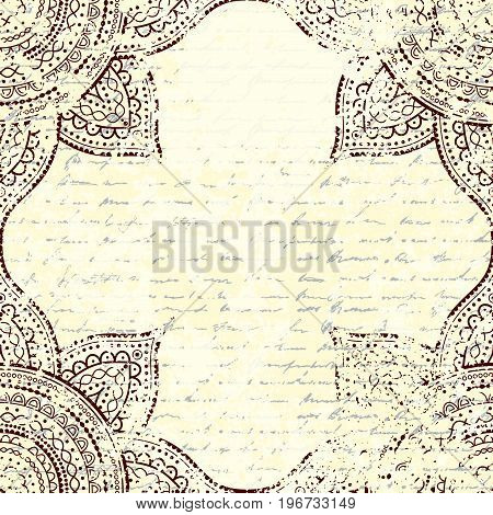 Vector square background. Retro grunge blank place for a text.