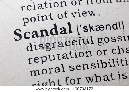 Fake Dictionary Dictionary definition of the word scandal.