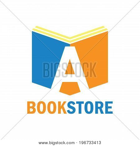book store logo with alphabet A. vector illustration