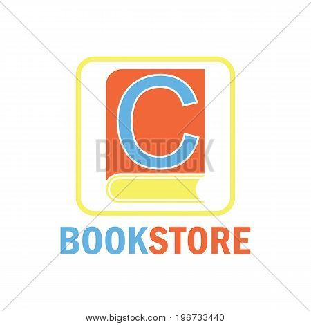 book store logo with alphabet C. vector illustration