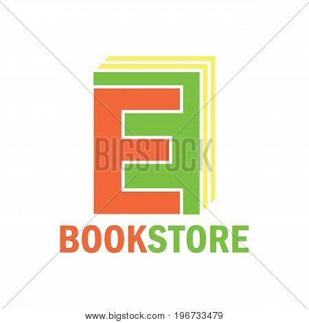 book store logo with alphabet E. vector illustration
