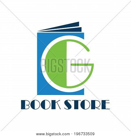 book store logo with alphabet G. vector illustration