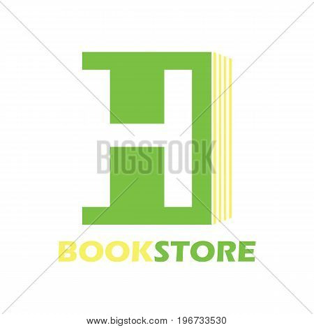 book store logo with alphabet H. vector illustration