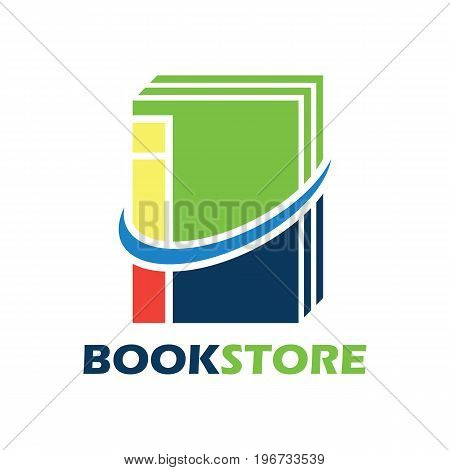 book store logo with alphabet I. vector illustration