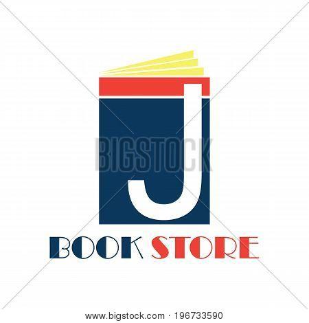 book store logo with alphabet J. vector illustration