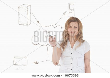 Isolated Woman Making A Scheme Looking Towards The Camera