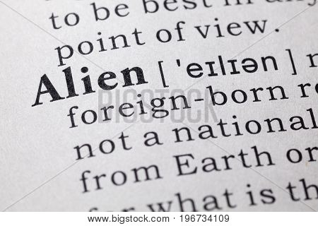 Fake Dictionary Dictionary definition of the word alien.