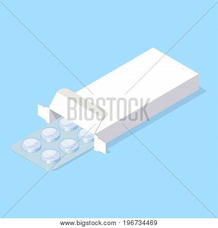 Medical pills blister in white package box. Isometric vector illustration