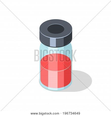 Glass bottle with red liquid vaccine medicament isolated on white background. Isometric vector illustration