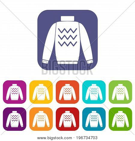 Pullover icons set vector illustration in flat style in colors red, blue, green, and other