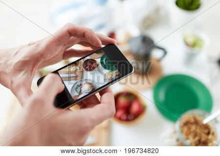 Smartphone shot of food on table