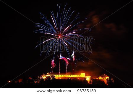 Fireworks above the church of Peter and Paul Brno South Moravia Czech republic