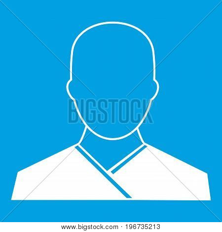 Buddhist monk icon white isolated on blue background vector illustration