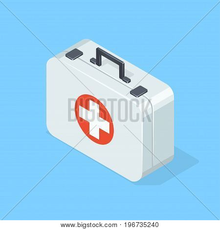 First aid kit on blue background. Isometric vector illustration