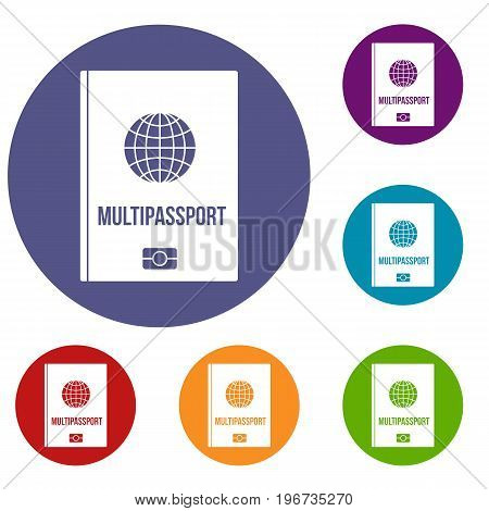 Multipassport icons set in flat circle red, blue and green color for web