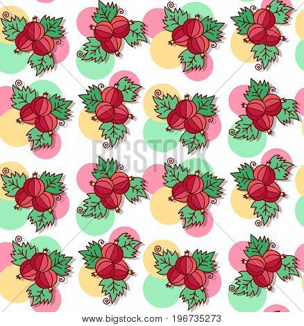 Red currant doodle berries cute seamless vector pattern