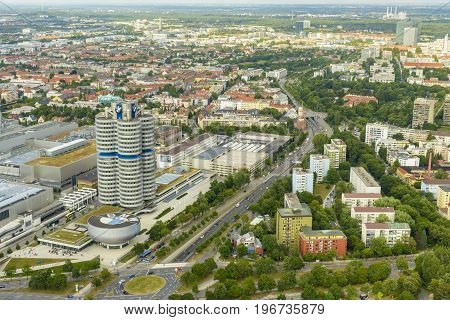 Munich Germany - July 2015: BMW building museum seen from above from Olympia Tower Munich Germany.