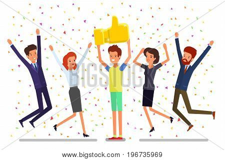 Concept of likes and positive feedback. Happy man with prize Thumbs up sign and holds it over head and people jumping around him. Flat design, vector illustration.