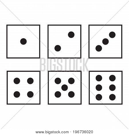 Flat icon dice isolated on white background. Vector illustration.