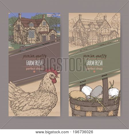 Set of two farm fresh labels with color traditional farmhouse, chicken and eggs in wicker basket on cardboard texture. Includes hand drawn elements.
