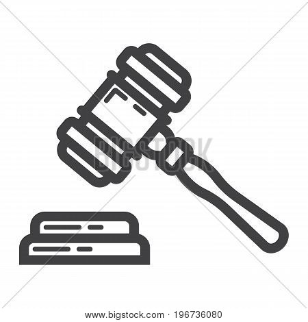 Auction hammer line icon, business and finance, judge gavel sign vector graphics, a linear pattern on a white background, eps 10.