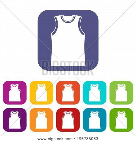 Singlet icons set vector illustration in flat style in colors red, blue, green, and other
