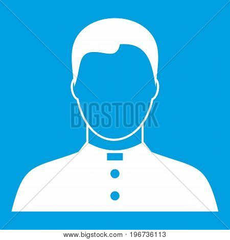 Pastor icon white isolated on blue background vector illustration