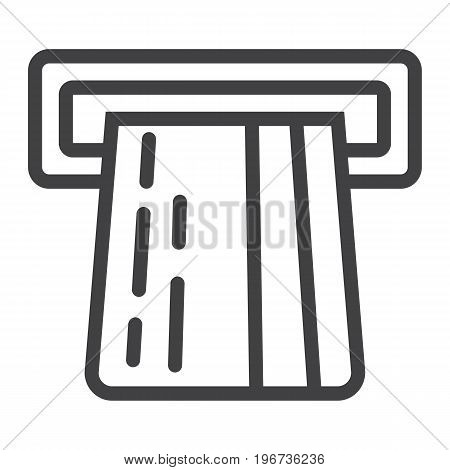 ATM credit card line icon, business and finance, cash sign vector graphics, a linear pattern on a white background, eps 10.
