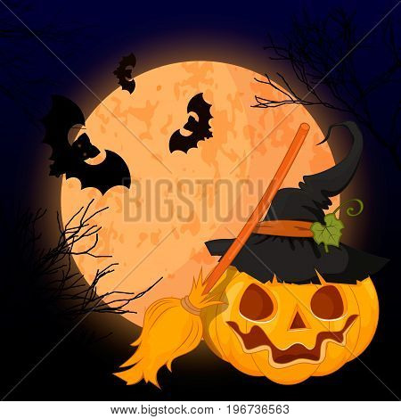 Vector illustration of a scary Halloween design. A bright moon pumpkin scary grins.