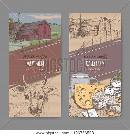 Set of two color dairy farm shop labels with farmhouse, cow, cheese and mugof milk. Placed on cardboard texture. Includes hand drawn elements.