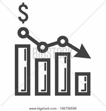 Declining graph line icon, business and finance, chart sign vector graphics, a linear pattern on a white background, eps 10.