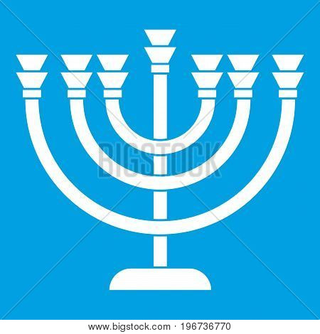 Menorah icon white isolated on blue background vector illustration