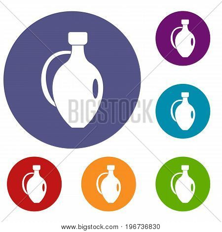 Clay jug icons set in flat circle red, blue and green color for web