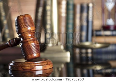 Law concept. Law symbols. Lawyer theme. Place for text.