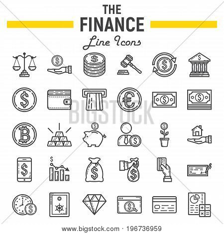 Finance line icon set, business symbols collection, marketing vector sketches, logo illustrations, business signs linear pictograms package isolated on white background, eps 10.