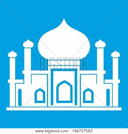 Mosque icon white isolated on blue background vector illustration