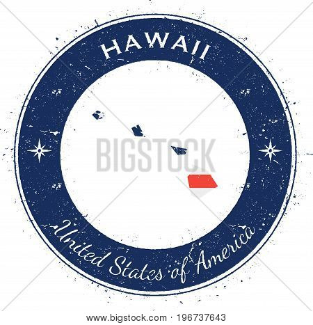 Hawaii Circular Patriotic Badge. Grunge Rubber Stamp With Usa State Flag, Map And The Hawaii Written