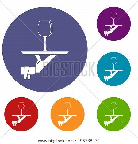 Waiter hand holding tray with wine glass icons set in flat circle red, blue and green color for web