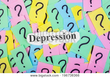 Depression Syndrome text on colorful sticky notes Against the background of question marks