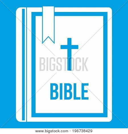 Bible icon white isolated on blue background vector illustration
