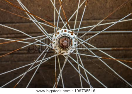 Rusted bike wheel symmetric view in ustic place