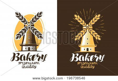 Bakery, bread logo or label. Farm, agriculture, windmill mill icon Vector illustration