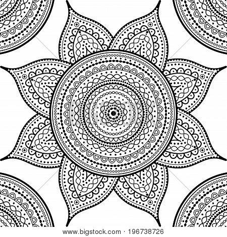 Vector square background. Mandala round decorative ornament pattern on white background.