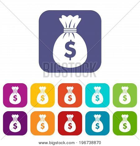 Bag with dollars icons set vector illustration in flat style in colors red, blue, green, and other