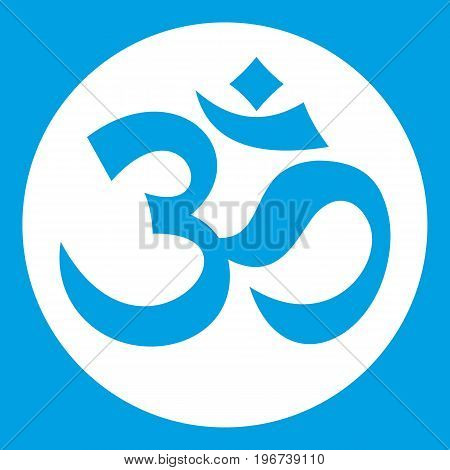 Symbol Aum icon white isolated on blue background vector illustration