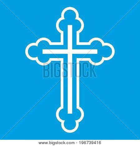 Crucifix icon white isolated on blue background vector illustration