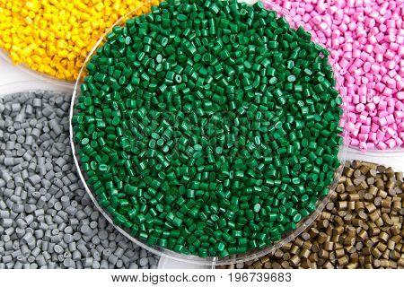The plastic granules. Dye for polypropylene polystyrene in granules.