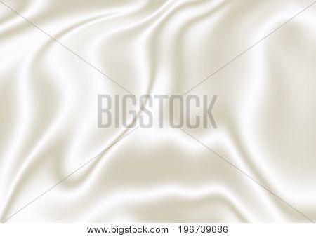White-beige silk 3D texture, render. Digitally generated white silk texture with beige shade 3D abstract background.