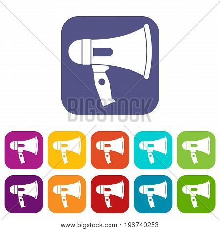 Mouthpiece icons set vector illustration in flat style in colors red, blue, green, and other