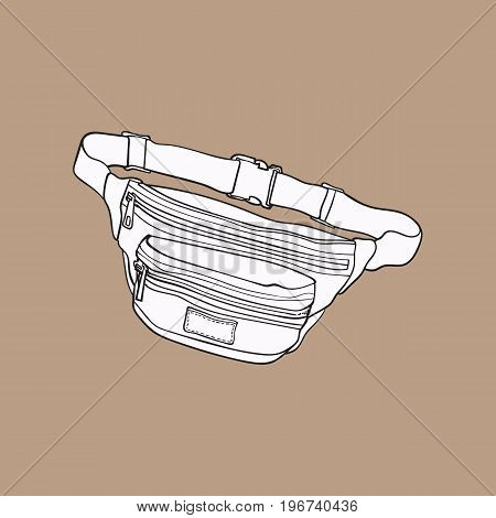 Old fashioned, retro style colorful waist bag, fashion accessory from 90s, sketch vector illustration isolated on brown background.